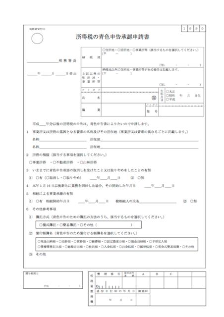 2017年1月時点での、青色申告申請書の様式(出典:国...
