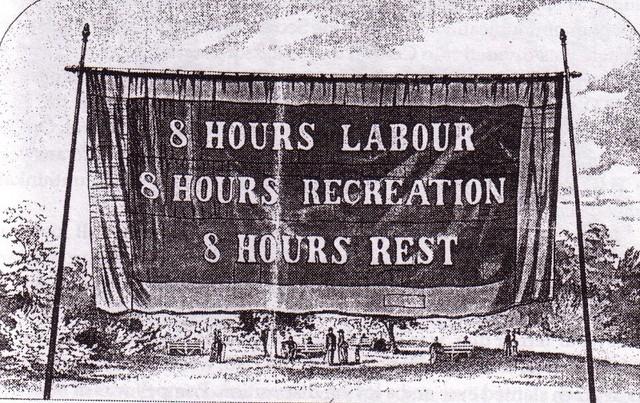 オーストラリア メルボルンで掲げられた「仕事に8時間を...